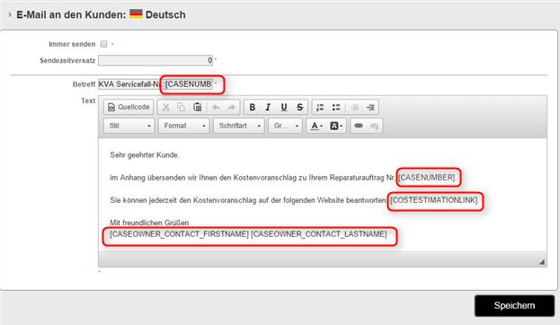 Automatische Textfelder in der E-Mail verwenden