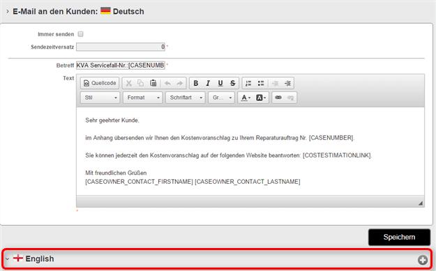 E-Mail in einer weiteren Sprache hinzufügen